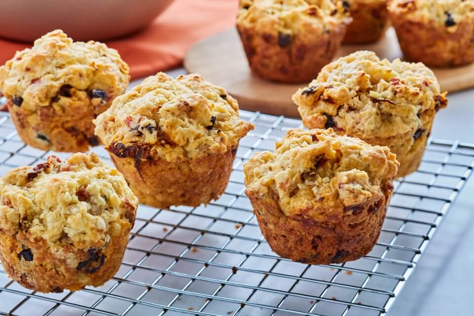 Bacon, Olive, and Sun-Dried Tomato Savory Muffins