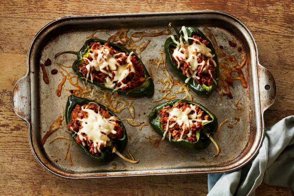 Chipotle Beef Stuffed Poblano Peppers