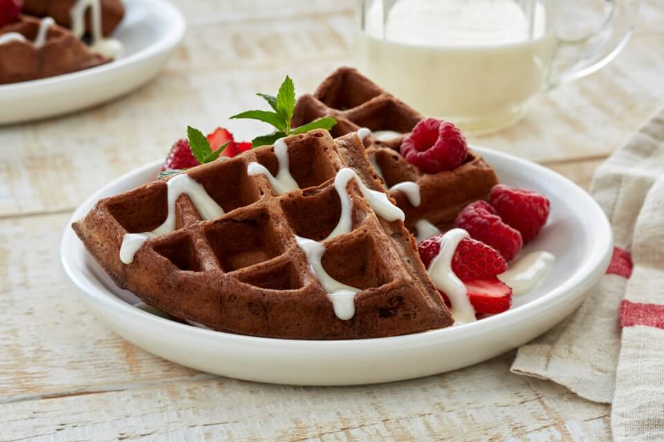 Chocolate Waffles with Berries and Cream Cheese Topping