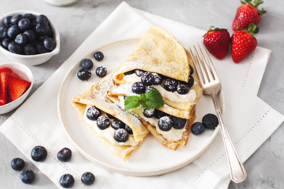 Fresh Strawberry or Blueberry Crepes