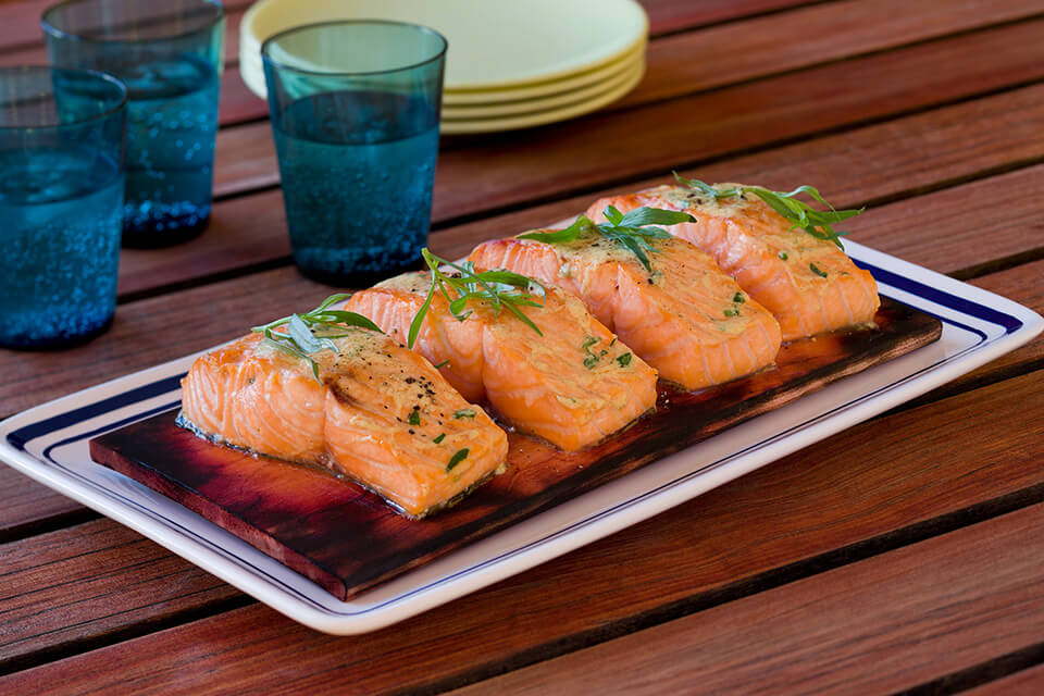 Grilled Salmon with Tarragon Mustard Sauce