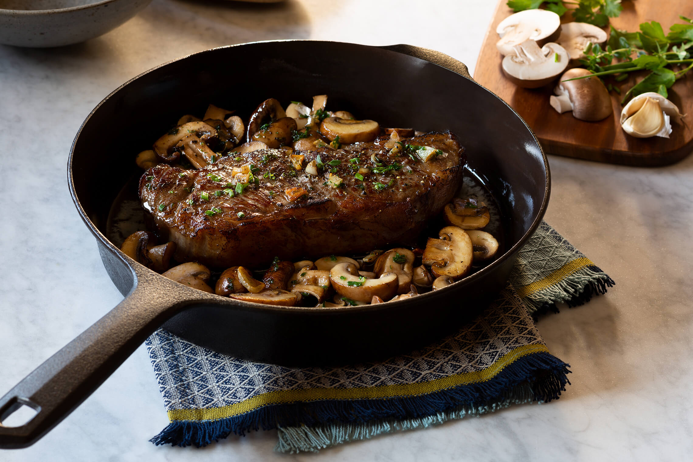 Pan Seared Steak With Garlic Herb Butter And Mushrooms Challenge Dairy