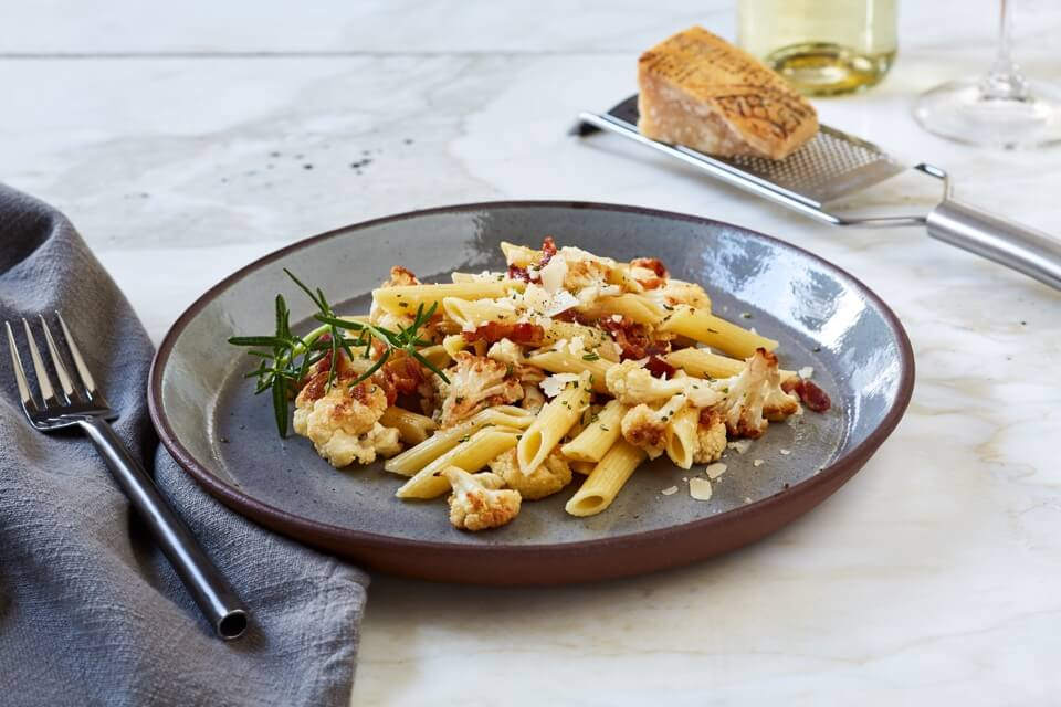 Penne with Roasted Cauliflower, Rosemary and Bacon