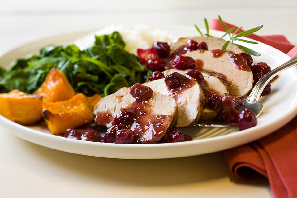 Pork Tenderloin with Cranberry-Balsamic Sauce