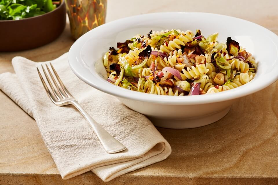 Rustic Pasta with Charred Brussels-Sprout Leaves, Pancetta, and Butter-Sizzled Hazelnuts