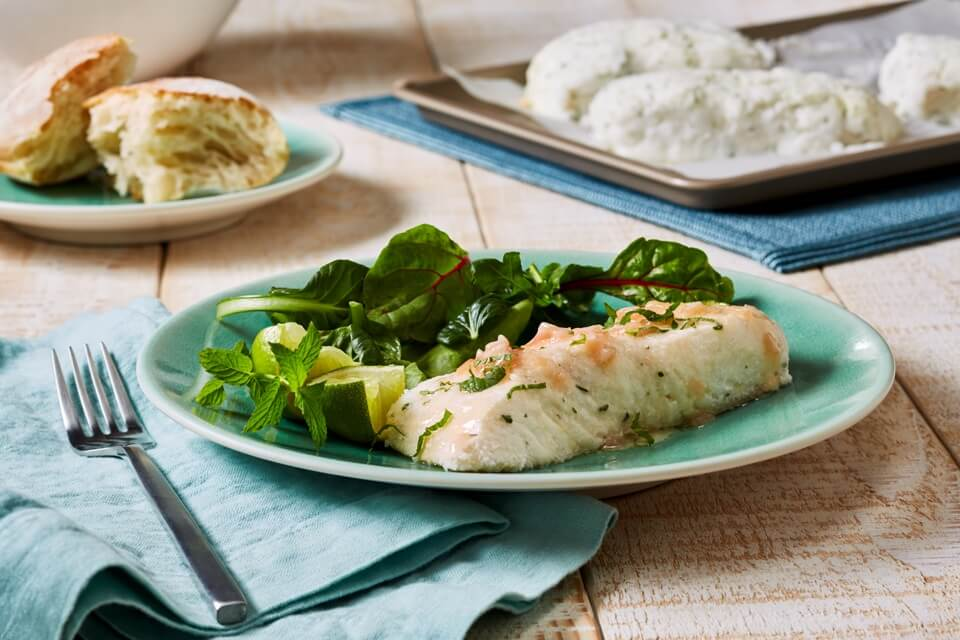 Salt-Crust Halibut Steaks with Mojito Butter