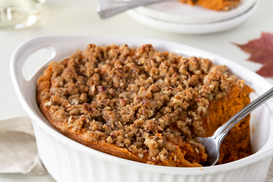 Sweet Potato Soufflé with Butter Pecan Topping